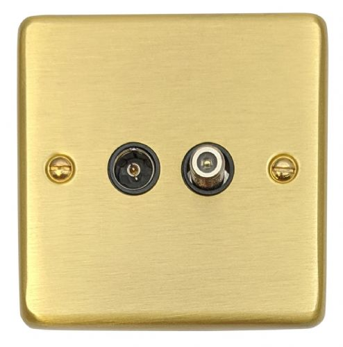 G&H CSB38B Standard Plate Satin Brushed Brass 1 Gang TV Coax & Satellite Socket Point